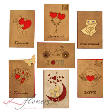 Add a gift to the bouqet - Wooden Love Card - букеты в СПб